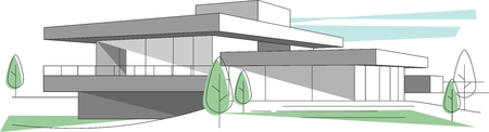 Architecture concept with abstract building in perspective