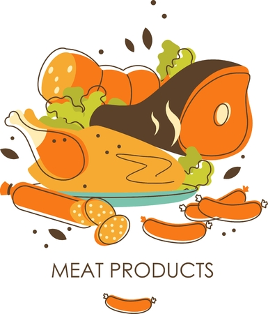 Meat products concept in retro sketch style