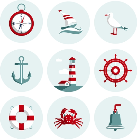 Set of nautical icons and design elements in flat style Vector