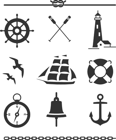 Set of nautical icons and design elements in silhouette