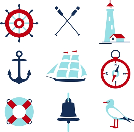 yacht: Set of nautical icons and design elements in flat style
