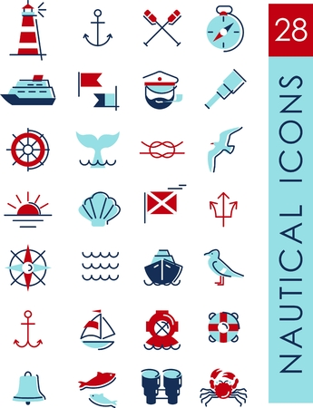 Set of nautical icons and design elements in vintage line style Vector