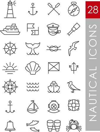 gaviota: Conjunto de iconos náuticos y elementos de diseño de estilo de línea de la vendimia Vectores