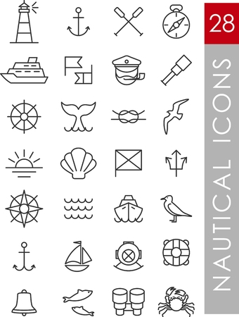 captain ship: Set of nautical icons and design elements in vintage line style