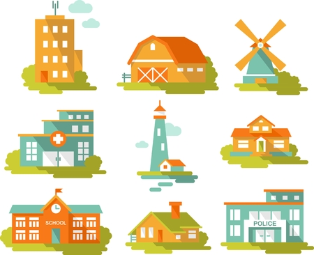 hotel building: Real estate and government buildings icons in flat style