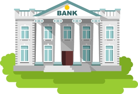 Detailed illustration of bank building on white background