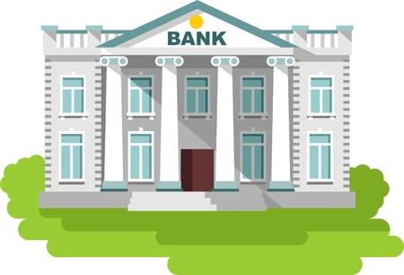 fachada: Ilustraci�n detallada de edificio del banco sobre fondo blanco
