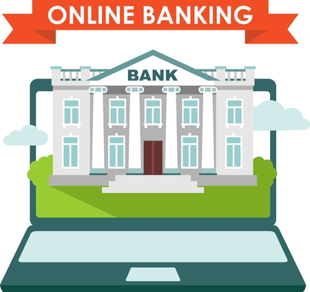 banking concept: Online banking concept with laptop and bank building