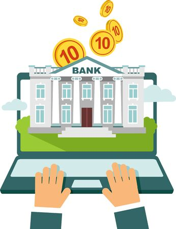 online trading: Online banking concept - using laptop with bank building on screen and money Illustration