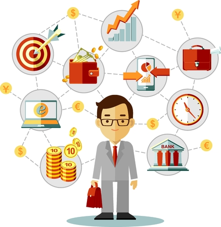 Buisnessman with finance and business icons in flat style