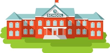 edificios: Edificio de la escuela cl�sica aislada en el fondo blanco