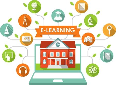 escuela edificio: L�nea de e-learning y el concepto de ciencia con el ordenador, construcci�n de escuelas y educaci�n iconos de estilo plano Vectores