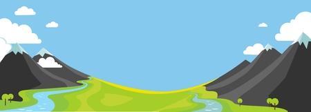 Wountains、緑の谷、フラット スタイルの川のパノラマ風景