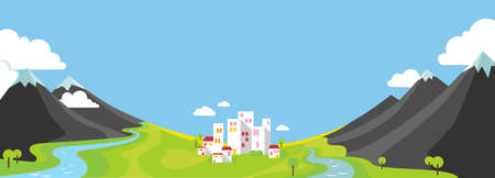 Panorama landscape with wountains and small city in green valley in flat style