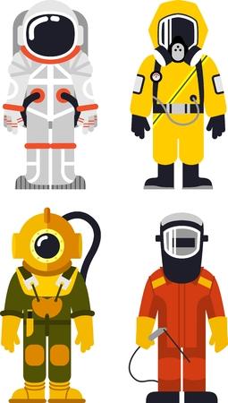 mascara de gas: Diferentes personas Profesiones personajes en estilo plano