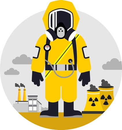 Man in protective suit and gas mask on pollution background