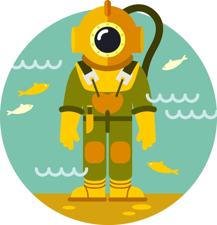sea  scuba diving: Man in old diving suit on underwater background