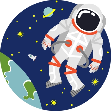 Astronaut floating in open space on planet and stars background Çizim