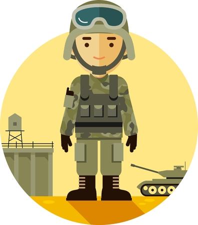 Soldado en uniforme de camuflaje en el fondo militar en estilo plano Vectores