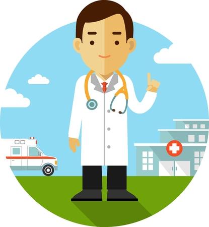 lekarz: Koncepcja Medycyna w stylu płaskiej z lekarzem na tle ze szpitala i pogotowia ratunkowego