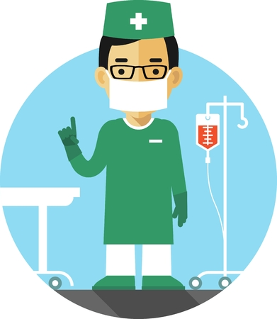 Medicine concept in flat style with doctor surgeon on hospital background Vectores