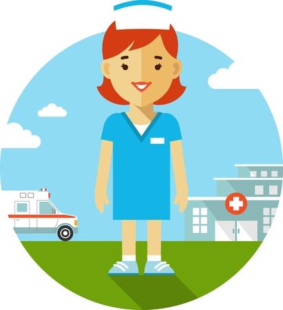 Concept van de geneeskunde in vlakke stijl met een verpleegkundige op de achtergrond met het ziekenhuis en ambulance