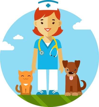 Veterinary concept with doctor, cat and dog in flat style Vector