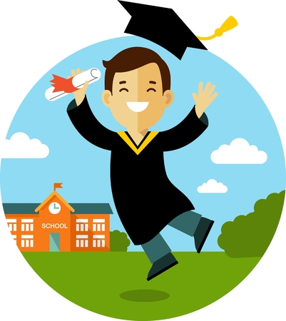 Vector illustration in flat style of young graduate student character Vectores
