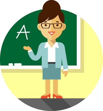 Ilustración del vector en estilo plano con carácter docente mujer delante de la pizarra Vectores