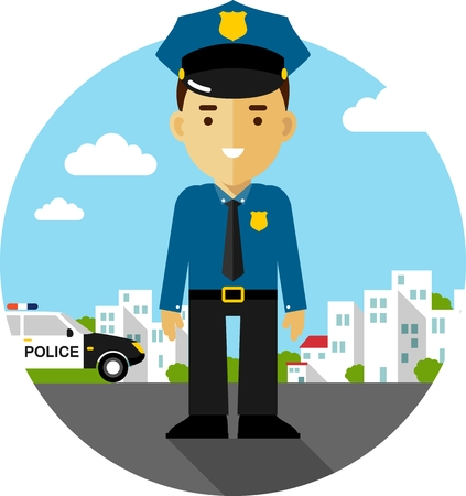 police cartoon: Policeman officer on city background with police car in flat style