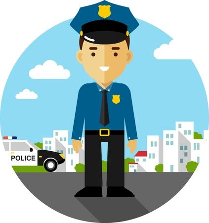 Politieagent officier op stad achtergrond met politie-auto in vlakke stijl Stock Illustratie