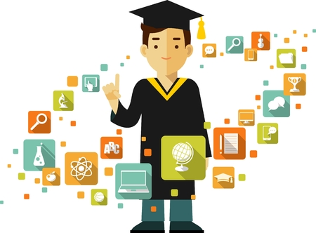 graduation gown: Vector illustration in flat style of young graduates student and education icons