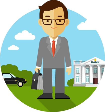 Vector illustration concept. Buisnessman on background with bank building and car in flat style