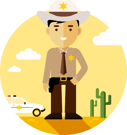 Policeman sheriff on desert background with police car in flat style