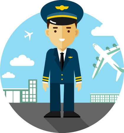 Pilot in uniform on airport background with airplanes in flat style Stock Illustratie
