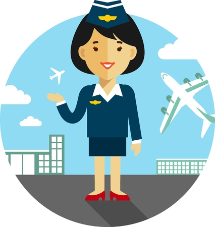 cabin attendant: Stewardess in uniform on airport background with airplanes in flat style