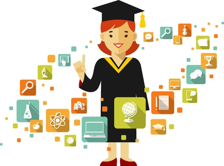 Vector illustration in flat style of young graduates student girl and education icons
