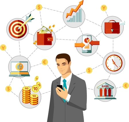 buisnessman: Buisnessman using smartphone with finance and business icons in flat style Illustration