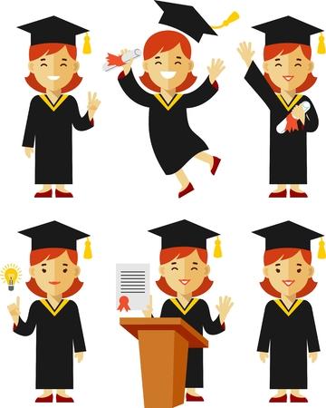 graduacion caricatura: Ilustración del vector en estilo plano de carácter joven graduado