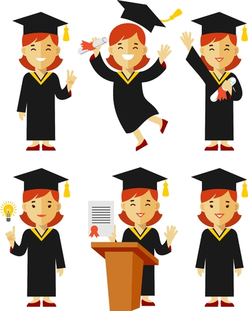 university graduation: Vector illustration in flat style of young graduate girl character