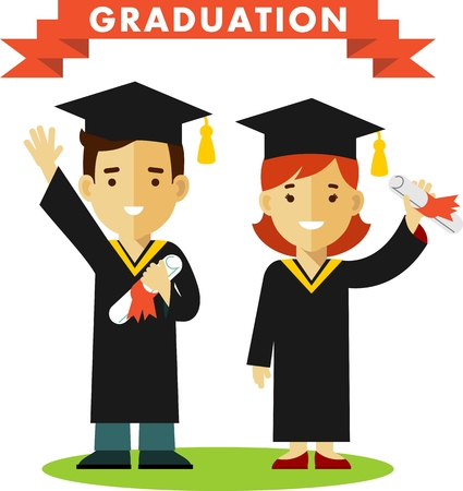 gown: Vector illustration in flat style of young graduates woman and man character
