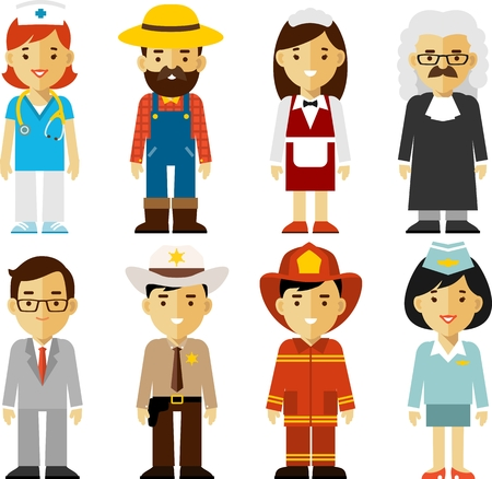 Different people professions characters in flat style