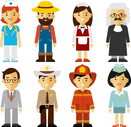 Verschillende mensen beroepen personages in vlakke stijl Stock Illustratie