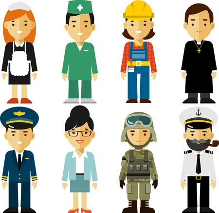 male female: Different people professions characters in flat style