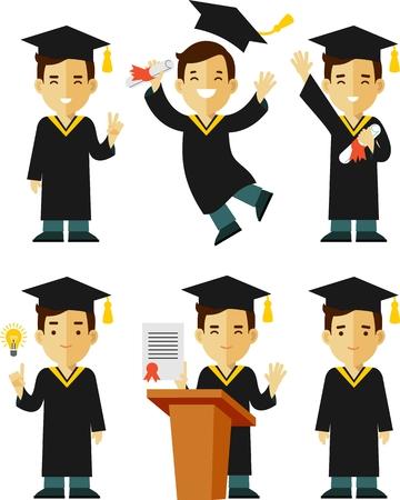 graduado: Ilustración del vector en estilo plano de la joven estudiante de posgrado de carácter Vectores