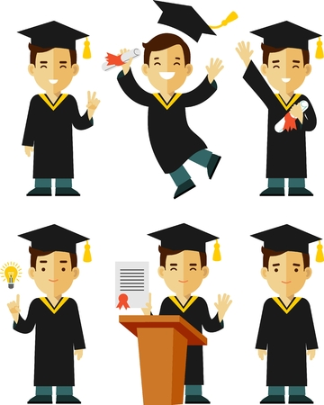 Vector illustration in flat style of young graduate student character Stock Illustratie