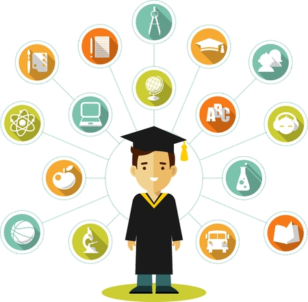 Vector illustration in flat style of young graduates student and education icons