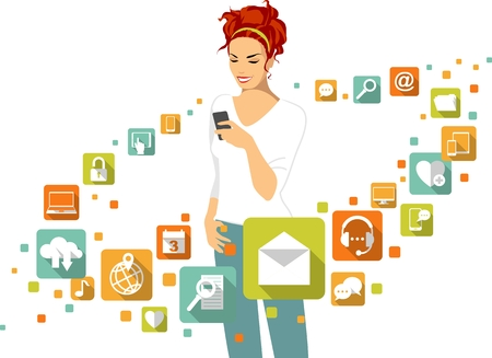 business woman tablet: Woman using smartphone. Around - social, media, web icons in flat style Illustration