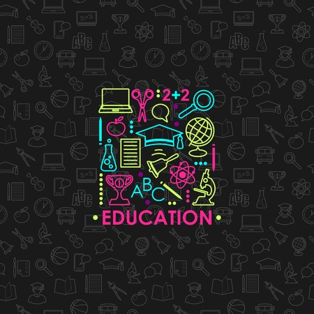 Education and science concept with learning icons in thin line style on seamless pattern