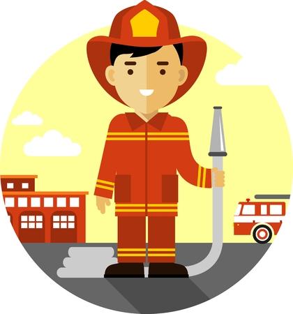 brandweer cartoon: Brandweerman in uniform op de achtergrond met brandweerwagen en brandweerkazerne